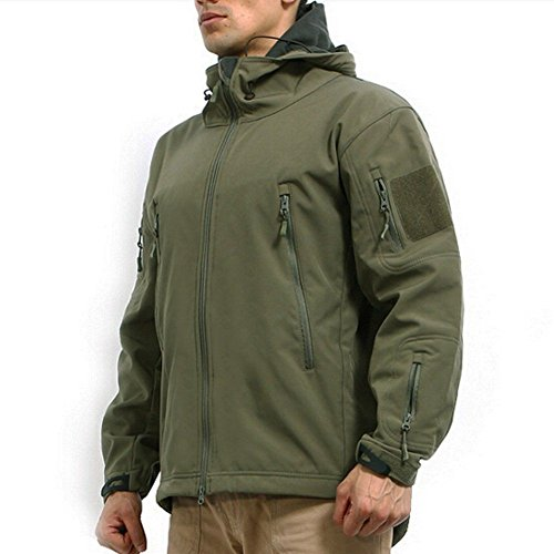 Men's Army Outdoor Military Special Ops Softshell Tactical Hooded Jacket Hunting Jacket,Green,US XL ( Tag 2XL) by ArmyCamoUSA