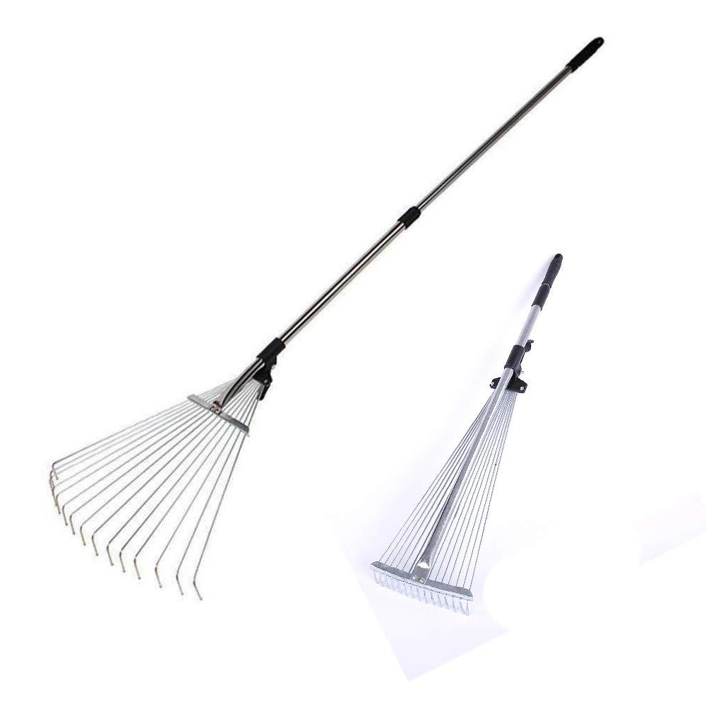 "NEPPT Yard Rake Telescopic Garden Rake Adjustable Metal Lawn Grass Raking Leaves 63 to 30""Expandable Camping Portable Hand Tool (Silver)"