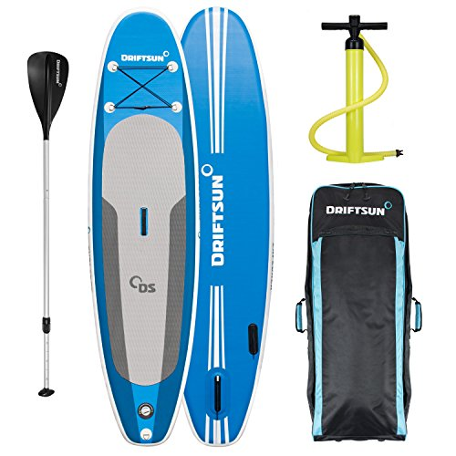Driftsun Explorer Ultimate 10-Foot Inflatable Stand Up Paddle-Board Package with Travel Backpack SUP, Adjustable Paddle, Coil Leash, 10-Feet Long, 6-Inches Thick