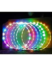 Hankyky LED Glow Sport Hoop for Adults Kids Multicolor Hoola Hoop Loose Weight Bodybuilding Fitness Hoops Toy Multiple Light Up Sports Hoops