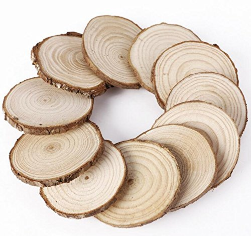 A fine Gift 25Pcs 5cm Wooden Wood Log Slices Discs Tree Bark Decorative for DIY Crafts Wedding Centerpieces by Wanrane (Image #2)