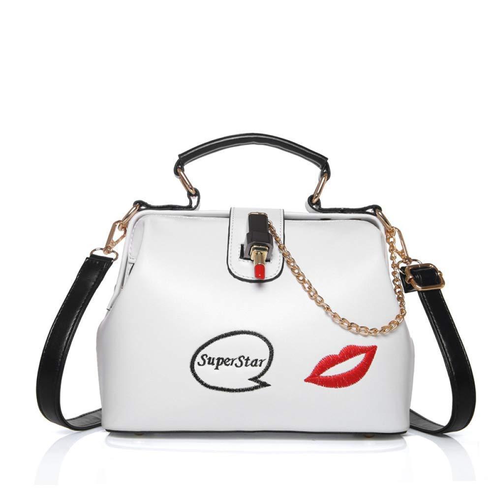 Willsego Rote Lippen Fashion Lady Handtasche Schulter Diagonal Umhängetasche (Farbe   Weiß, Größe   24  11  19cm) B07KD1XGZQ Schultertaschen Schönes Aussehen
