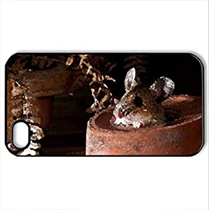 anyone out there - Case Cover for iPhone 4 and 4s (Rodents Series, Watercolor style, Black)