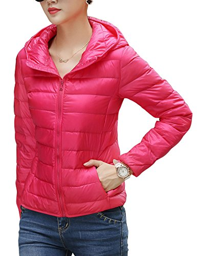 Ultralight CHICK ab Winter with Puffer Packable Women's Rose Down CHERRY Red Hood Jacket ZEqgW