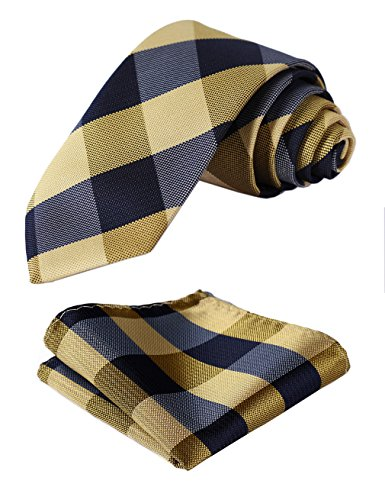 Slim Skinny Narrow Tie Handkerchief Jacquard Woven Classic Men's Necktie & Pocket Square Set Yellow (Plaid Narrow Tie)