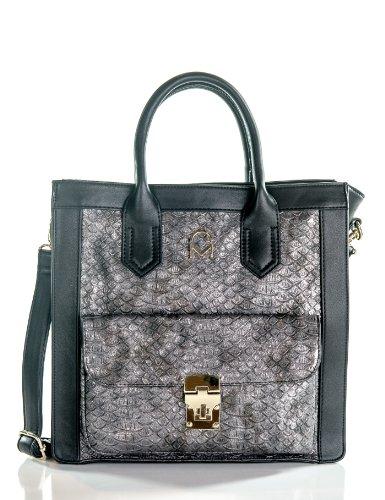 te Handbag - Black/Silver (Savoy Tote)