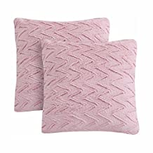 """LIFEREVO 2 Pack Chevron Brushed Fleece Faux Fur Decorative Throw Pillow Case Soft Cushion Cover (Pink, 18""""x18"""")"""