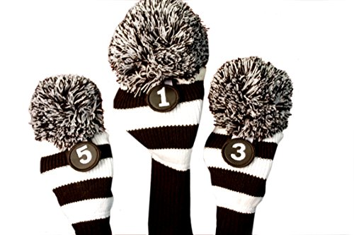 Majek Golf Club Head Covers: Black & White Limited Edition Tour Knit Retro Old School Vintage Stripe Pom Pom Throwback Classic Long Neck 460cc Driver Fairway Metal Wood Longneck Woods Drivers Headcovers