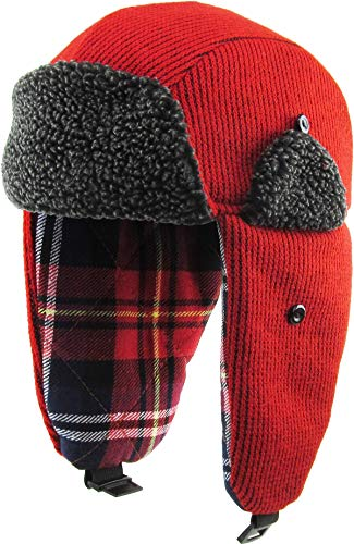 KBW-614 RED Wool Blend Inner Plaid Aviator Trooper Trapper Hat Winter Cap
