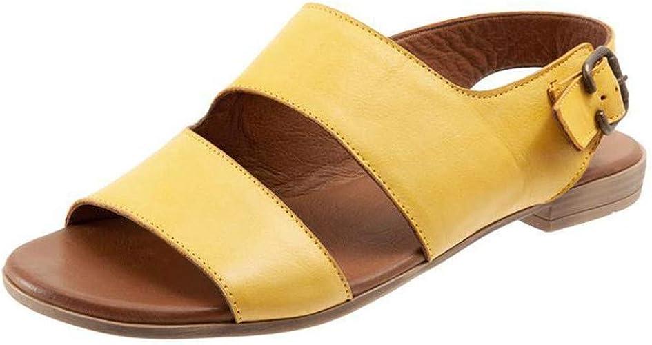 ZEZKT Sandales Femmes Plates Boheme Boucle Bout Ouvert Rétro Chaussures Dames Romaines Escarpin Pied Large D'éTé Grande Taille Sandales à Chevrons