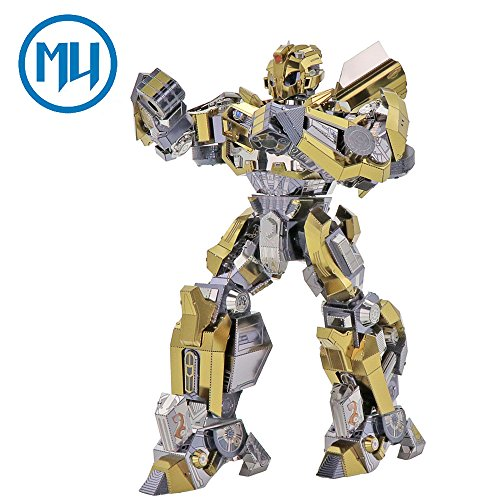 2018 MU 3D Metal Puzzle Transformers 5 Bumblebee Join Moveable The Last Knight Model YM-L036-C DIY 3D Laser Cut Assemble Jigsaw Toys For (New Transformers Bumblebee)