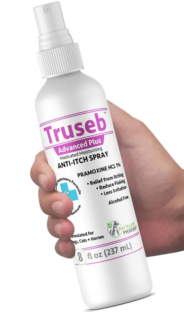 Truseb | #1 Pramoxine HCL 1% Anti Itch Spray Anesthetic and Medicated for Dogs and Cats with Scratchy, Itchy and Dry Skin, Hot Spots Moisturizing Oatmeal Made in U.S.A. by Pet Health Pharma