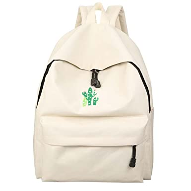 Cactus Embroidery Simple Canvas Students School Bag Girl Rucksack Mochila Escolar Women Backpack Rice white L30