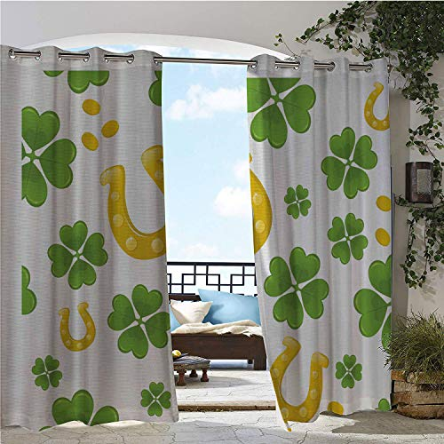 Linhomedecor Balcony Waterproof Curtains Rock Irish Luck Symbols Horse Shoe Coins and Four Leaf Clovers Pattern Apple Green and Yellow Porch Grommet Printed Curtains 96 by 96 inch ()