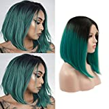 Ombre Green Wig Synthetic Lace Front Wigs Short Bob 2 Tone Color Heat Resistant Synthetic Hair Replacement Wigs for Black Women Half Hand Tied (1B/Green, 14 inch) For Sale