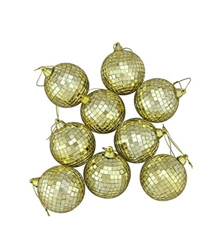 9ct Gold Mirrored Glass Disco Ball Christmas Ornaments 1.5