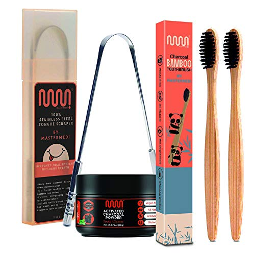 MasterMedi Oral Care Kit [ 1 Tongue Cleaner/Scraper + 1 Activated Charcoal Teeth Whitening Powder 50gm (mint) + 2 Bamboo Tooth Brush]