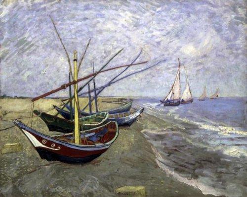 Fishing Boats On The Beachat Saintes-Maries 12.736 x 16 Art Print On Canvas