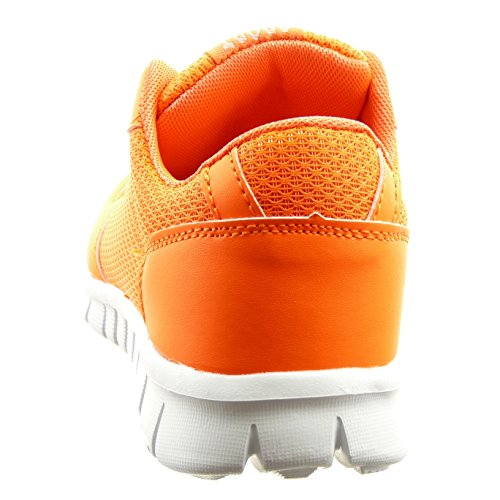 Sopily - damen Mode Schuhe Sneaker bi-Material - Orange