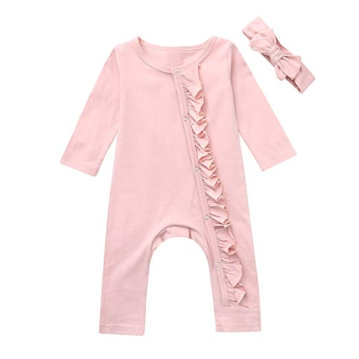 21460f6ac Amazon.com  Featurestop Baby Girls Footless Pink Jumpsuit Pajamas (3 ...