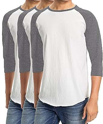 Men's Plain Baseball Athletic 3/4 Sleeve 100% Cotton Tee Shirt - 3 Pack