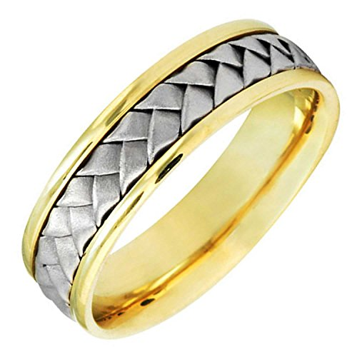 Two Tone Platinum and 18K Yellow Gold Braided Basket Weave Men's Wedding Band (6mm) Size-15c2