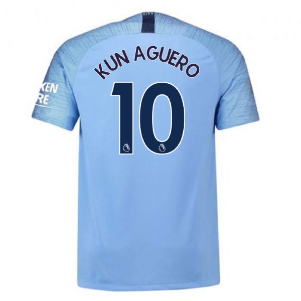 2018-2019 Man City Nike Vapor Home Match Football Soccer T-Shirt Trikot (Sergio Aguero 10)