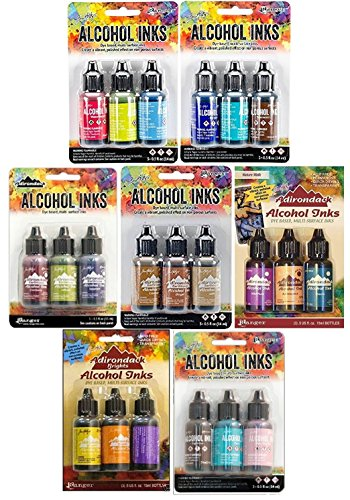 Tim Holtz Adirondack Alcohol Inks - 7 Packages - 21 Ink Bottles total Dockside Picnic, Summit View, Retro Cafe, Nature Walk, Cabin Cupboard, Mariners, Farmer's Market by Tim Holtz