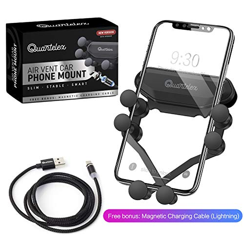 Quantelex Car Phone Mount, Air Vent Phone Holder for Car, Handsfree Cell Phone Car Mount Compatible with iPhone XR/XS Max/XS/X/8/8 Plus/7/7 Plus,Galaxy S10/S10,Car Accessories, Magnetic Charging Cable