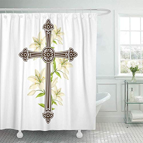 Abaysto Silhouette of Ornate Cross with Lilies Happy Easter Religious Symbols Faith Home Decor Shower Curtain Sets with Hooks Polyester Fabric Great Gift ()