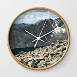 Society6 Holy Cross Mountain Wall Clock Natural Frame, White Hands