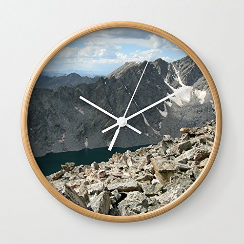 Society6 Holy Cross Mountain Wall Clock Natural Frame, White Hands by Society6