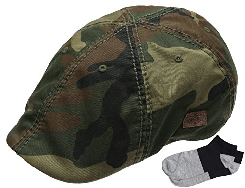 Men's Newsboy Vintage Cotton Washed Duckbill Ivy Hat With Summer Low Cut Sock (CAMO GREEN)