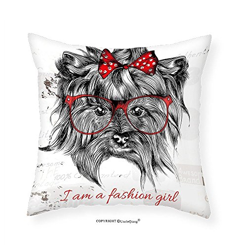 VROSELV Custom Cotton Linen Pillowcase Animal I am a Fashion Girl Quote Sketch Cute Hipster Dog with Sunglasses and Red Bow for Bedroom Living Room Dorm Red Black White - Peter Sunglasses Nice