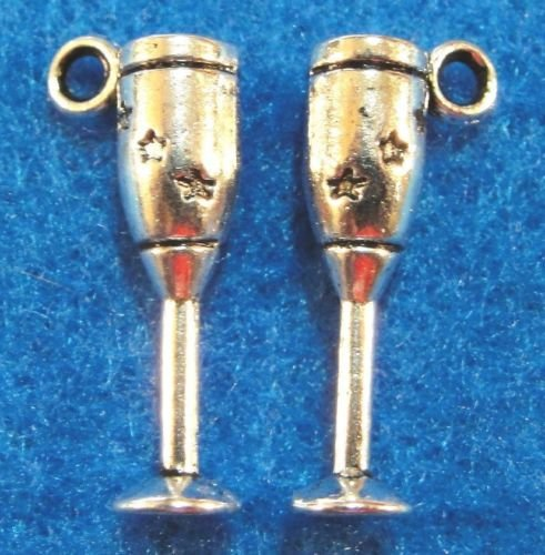 10 PC Tibetan Silver 3D WINE GLASS GOBLET Charms - from Jewelry Making Supply Charms Wholesale Pendants Earring by Wholesale ()