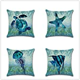 "Decorative Set of 4 Animal Theme Throw Pillow Cover Cotton Linen Cushion Covers Without pillow 18"" x 18"" 45cm x 45cm-Starfish"