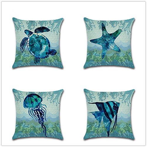 """Decorative Set of 4 Animal Theme Throw Pillow Cover Cotton Linen Cushion Covers Without pillow 18"""" x 18"""" 45cm x 45cm-Starfish by MondMond"""