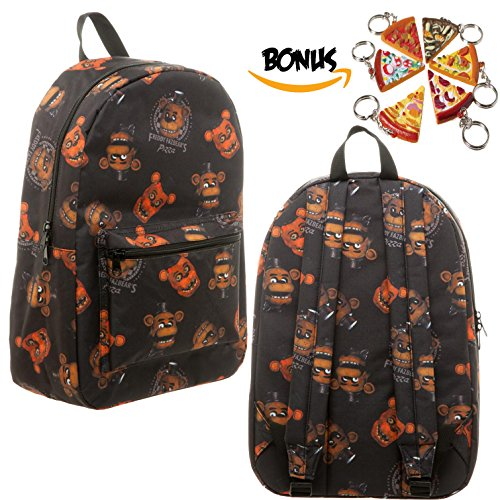 [FNAF Five Nights at Freddy's Freddy Fazebear Pizza Large Backpack Bag & Keychain] (Five Nights At Freddys Costume Mangle)