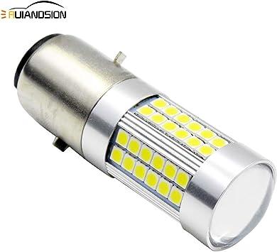 Ruiandsion 1pcs BA20D LED Motocicleta Bombilla 12V Super Brillante 5050 27SMD Chipset Bombilla LED Alto Bajo Haz 6000K Blanco