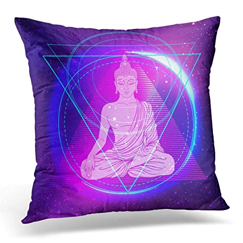 Throw Pillow Covers Sitting Buddha Over Colorful Neon