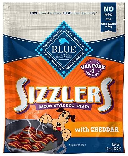 Blue Buffalo Sizzlers Natural Bacon-Style Soft-Moist Dog Treats, Cheddar Pork 15-oz bag