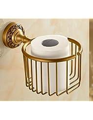 LJ&L All Bronze Paper Towels Holder European Style Paper Towels Basket Antique Paper Towels Cylinder Upscale