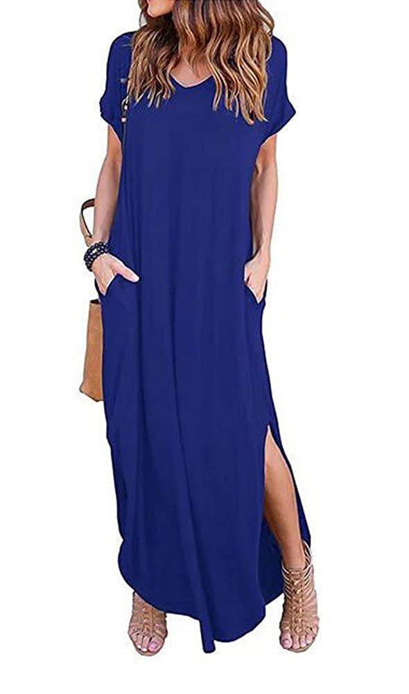 Wicky LS Women's Long Sleeve Cotton Maxi s Solid Color Dress