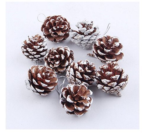 HK_SSK Christmas tree ornaments Christmas tree pine nuts pendant paint white natural pine cones