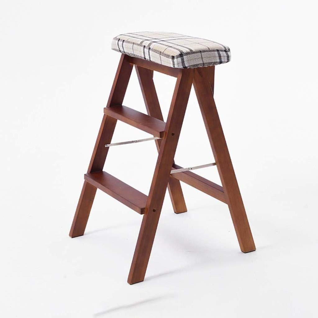 無垢材ステップスツールホームスリーステップ折りたたみ梯子スペースルーム屋内多目的梯子椅子デュアルユースクライミング階段スツール45×42×65センチ (Color : T) B07SSJ4R4Y T