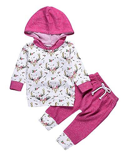 Deer Hoodie (2pcs Baby Girl Floral and Deer Printed Hoodies + Long Pants Winter Warm Outfits Clothes Set (0-6M, Rose))