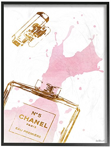 Stupell Industries Glam Perfume Bottle Splash Pink Gold Oversized Framed Giclee Texturized Art, Proudly Made in USA ()