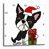 3dRose All Smiles Art Christmas – Funny Cute Boston Terrier Dog with Christmas Gifts Cartoon – 15×15 Wall Clock (dpp_264014_3) For Sale