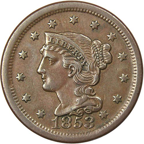 1853 1c Braided Hair Large Cent Penny XF EF Extremely Fine