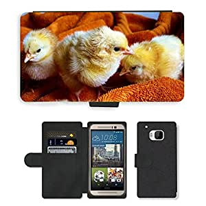 Hot Style Cell Phone Card Slot PU Leather Wallet Case // M00110482 Chicks Animal Fluffy Poultry // HTC One M9